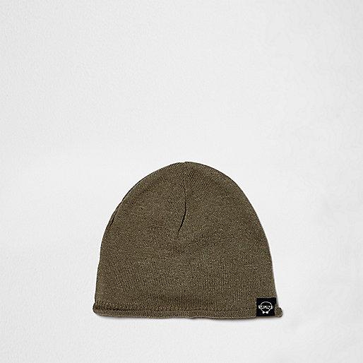 Mini boys khaki washed knit slouch beanie hat