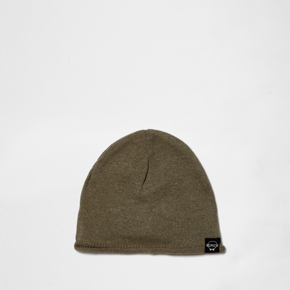 Mini boys khaki washed knit slouch beanie hat