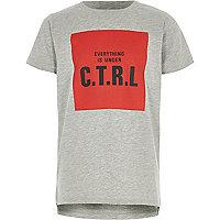Boys grey marl 'c.t.r.l' print T-shirt