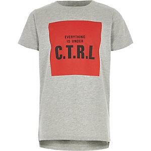 Grijs gemêleerd T-shirt met 'c.t.r.l'-print voor jongens