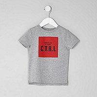 Mini boys marl grey 'CTRL' print T-shirt