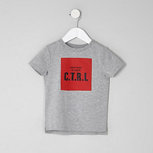 Mini boys marl grey 'CTRL' print T-shirt