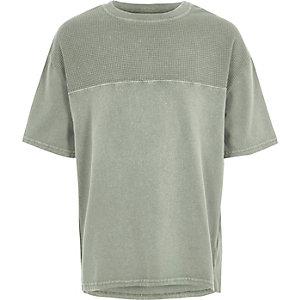 Kaki T-shirt met inzestuk met wafeldessin voor jongens