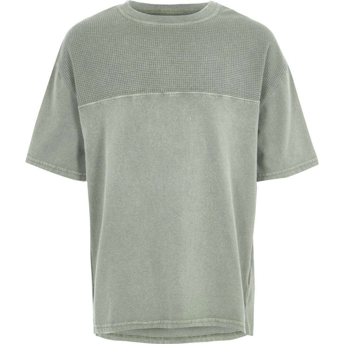Boys khaki waffle insert T-shirt