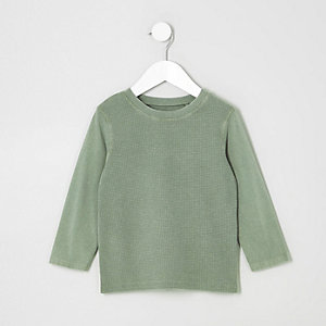 Mini boys washed khaki waffle block t-shirt