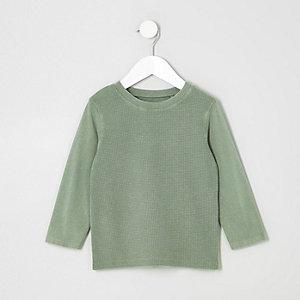 T-shirt kaki délavé à empiècement gaufré mini garçon