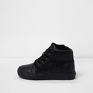 Mini boys black laser cut hi top trainers