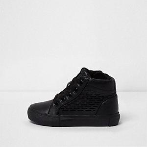 Mini - Zwarte laser-cut hoge sneakers voor jongens