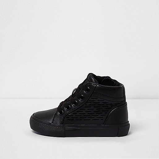 Mini boys black laser cut hi top sneakers
