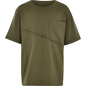 Boys khaki green seam oversized T-shirt