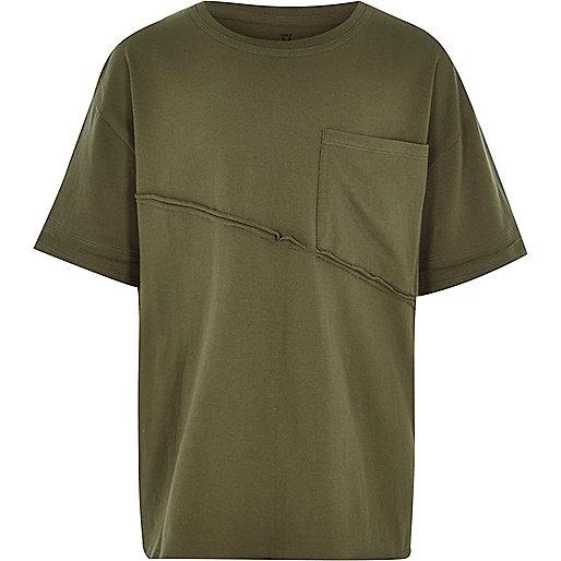 Boys khaki green seam oversized T-shirt