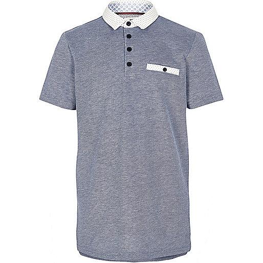 Boys navy textured polo shirt