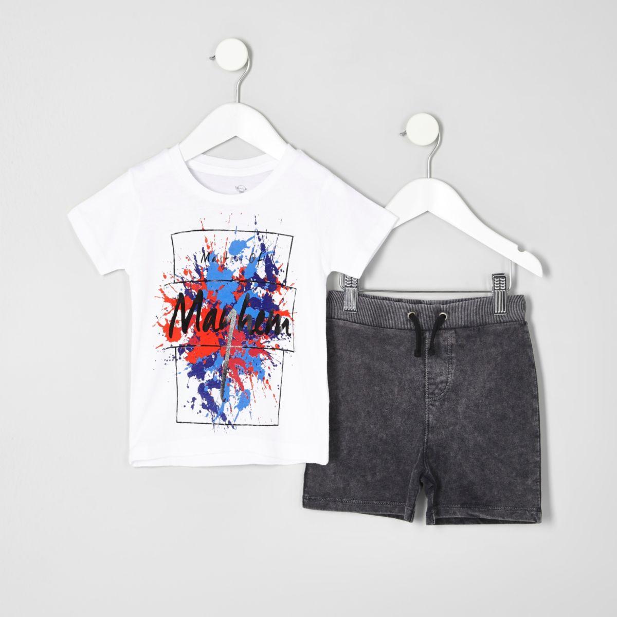 Mini boys white print T-shirt outfit
