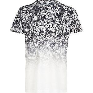 T-shirt imprimé tête de mort blanc délavé garçon