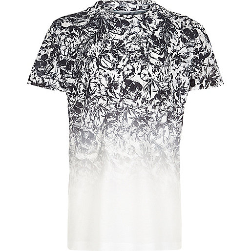 Boys white skull fade print T-shirt