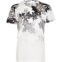 Boys white floral fade print T-shirt