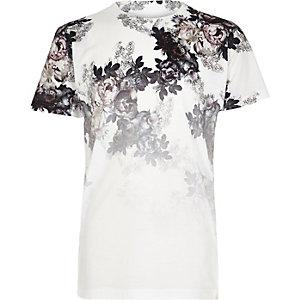 Wit T-shirt met bloemenprint en kleurverloop voor jongens