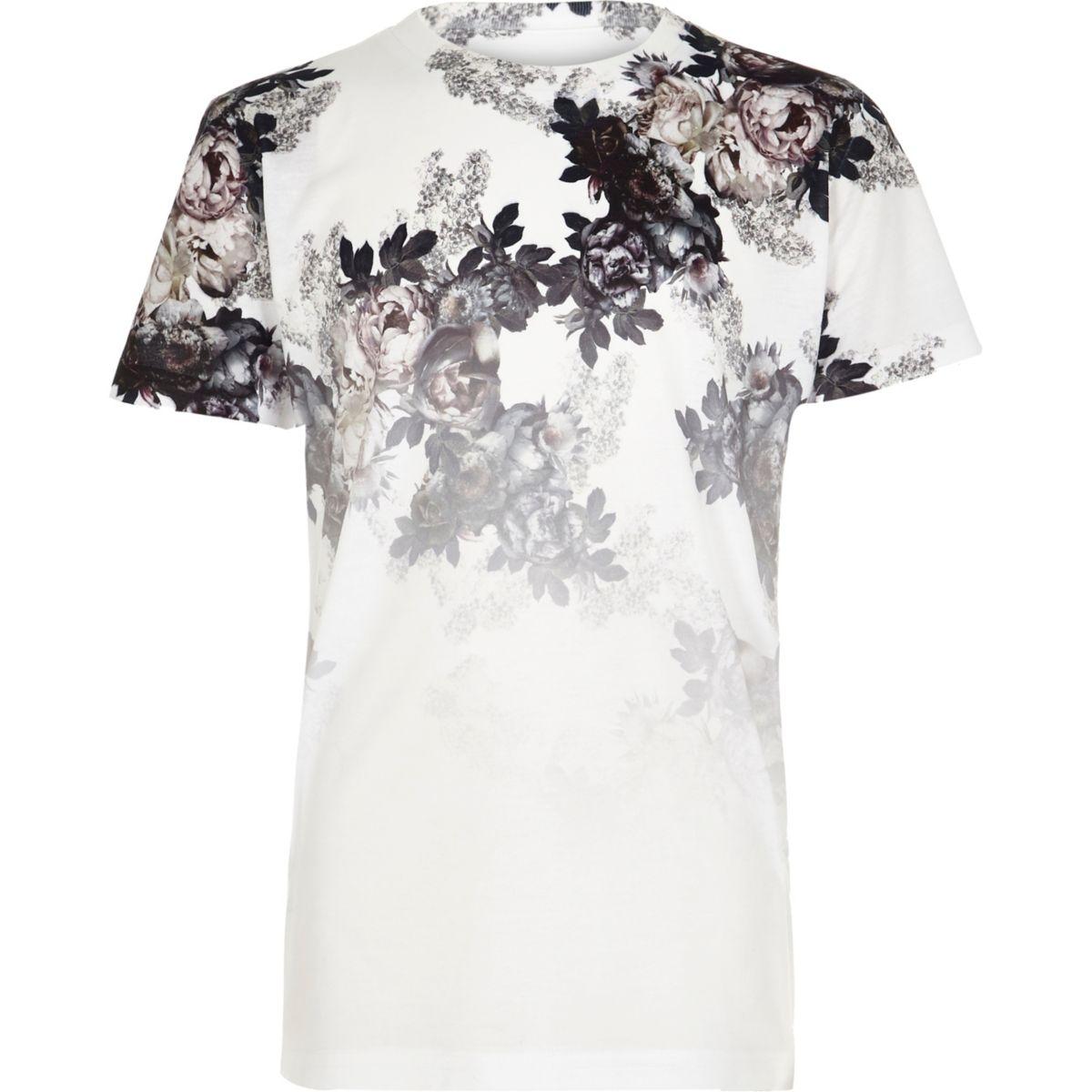 Boys white floral fade print T-shirt