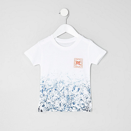 Mini boys blue splash fade print T-shirt