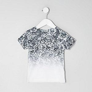 Mini - Wit T-shirt met doodshoofdprint en kleurverloop voor jongens