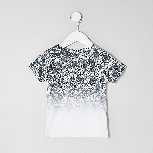 Mini boys white skull fade print T-shirt
