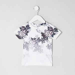 Mini - Wit T-shirt met bloemenprint en kleurverloop voor jongens