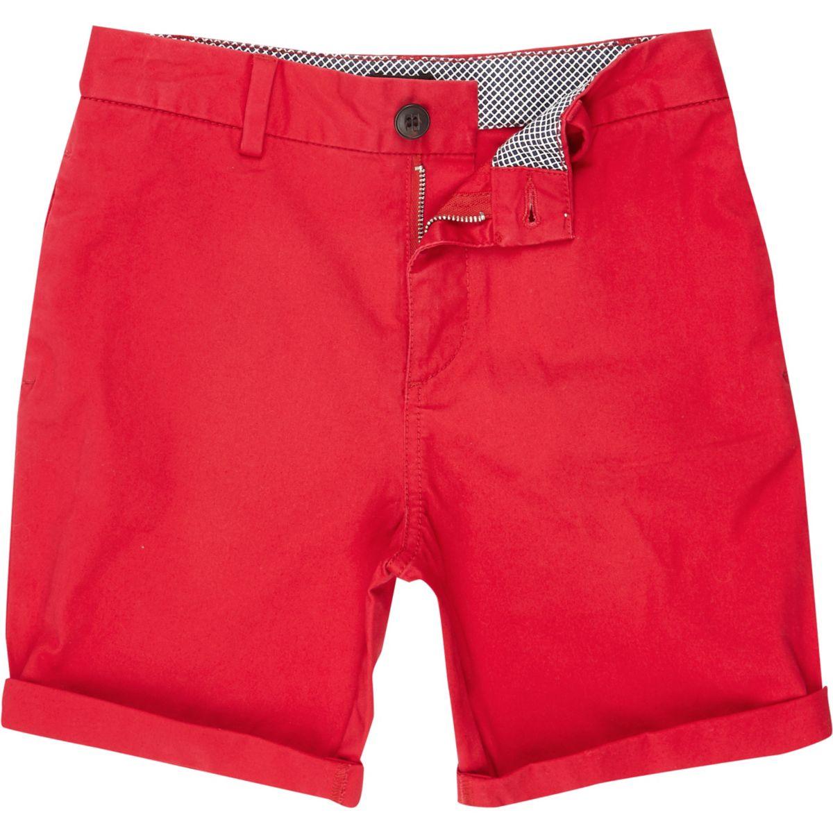 Boys red chino shorts