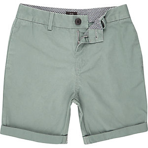Boys green chino shorts