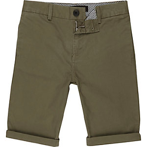 Boys khaki green chino shorts