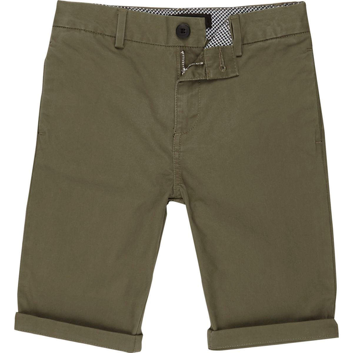 Boys khaki green chino shorts