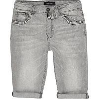 Boys light grey Dylan slim fit denim shorts