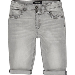 Boys light grey Dylan slim fit denim shorts