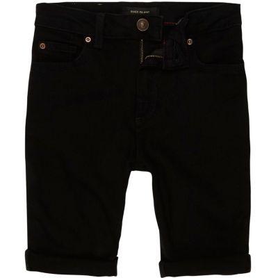 Sid Zwarte skinny denim short voor jongens