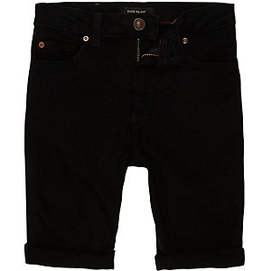 Boys black Sid skinny denim shorts