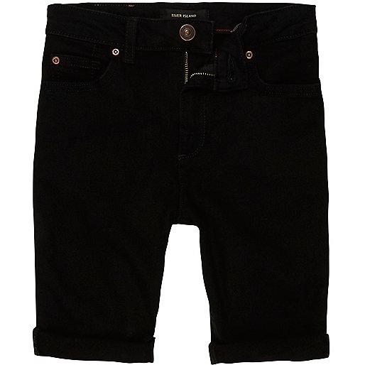 Boys black Sid skinny denim shorts