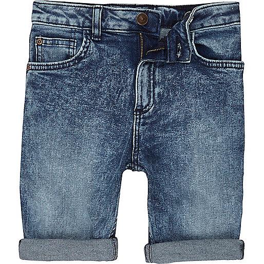 Boys blue Dylan slim fit denim shorts