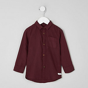 Mini boys burgundy long sleeve Oxford shirt