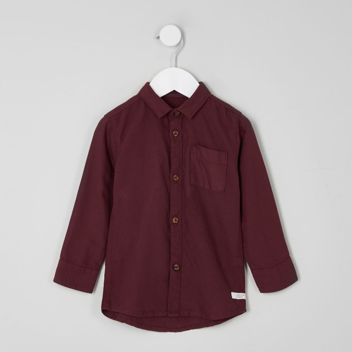Mini boys burgundy long sleeve Oxford shirt