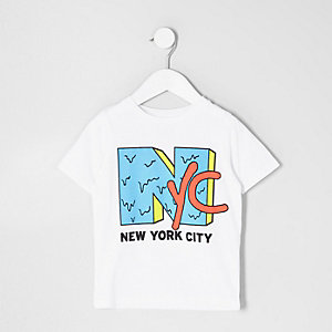 Mini boys white 'NYC' print T-shirt