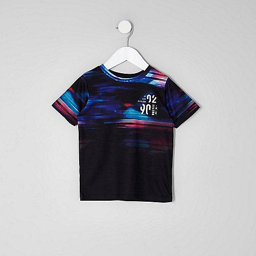 Mini boys black glitch fade print T-shirt