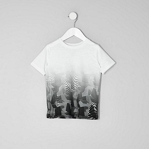 Mini boys white mono camo fade print T-shirt