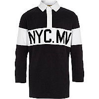 Boys black 'NYC' long sleeve rugby polo shirt