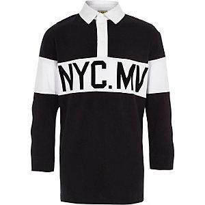 Zwart rugbyshirt met lange mouwen en 'NYC'-print voor jongens