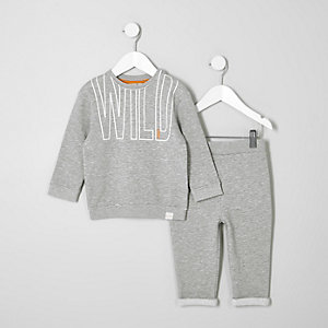 Mini boys grey sweatshirt and joggers outfit