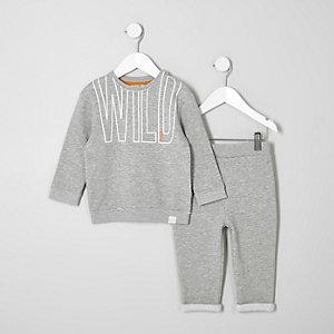 Ensemble jogging et sweat gris mini garçon