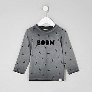T-shirt «Boom» gris à manches longues mini garçon