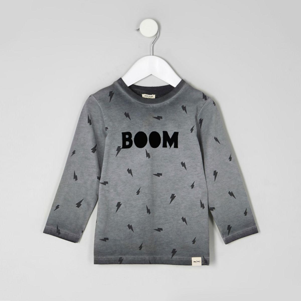 Mini boys grey 'boom' long sleeve T-shirt