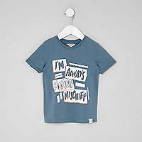 Mini boys blue 'mischief' T-shirt