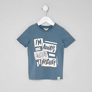 Mini - Blauw T-shirt met 'mischief'-print voor jongens