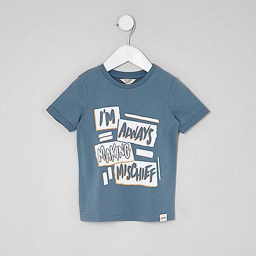 Mini boys blue 'mischief' T-shirt